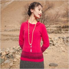[金紫绒]地方特色金紫绒 女款上衣 圆领花状羊绒衫 红色 M