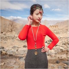 [金紫绒]地方特色金紫绒 女款上衣 圆领修身羊绒衫 红色 S