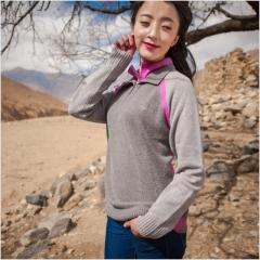 [金紫绒]地方特色金紫绒 女款上衣 半开式羊绒衫 图色 S