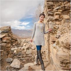 [金紫绒]地方特色金紫绒 女款 圆领小花裙羊绒衫 图色 S