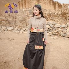 [金紫绒]地方特色金紫绒 女款上衣 高领羊绒衫 驼色 S