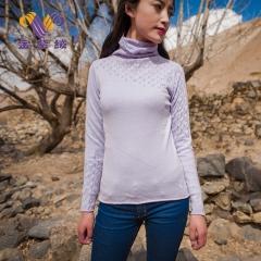 [金紫绒]地方特色金紫绒 女款上衣 微高领羊绒衫 雪青色 S