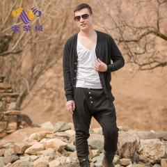 [金紫绒]地方特色 金紫绒 男款上衣 纯黑色休闲百搭开衫羊绒衫 黑色 S