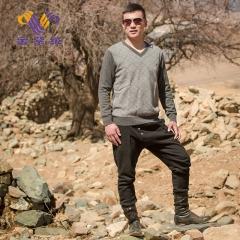 [金紫绒]地方特色 金紫绒 男士上衣 V 领羊绒衫 灰色 M