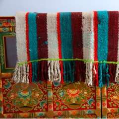地方特色藏风/藏式条纹#格子毛毯205*105cm