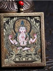 西藏唐卡吊坠牌挂件手工绘制藏式佛牌项链黄财神绿度母虚空如来