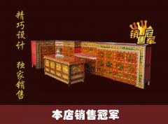 西藏红藏式传统手工沥金彩绘藏式画柜五件套