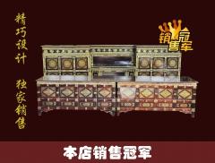 新古典实木藏式仿古名族风黑色彩绘炕桌顶箱柜多用原木家具藏式黑桌子可定制