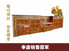 西藏红藏式传统手工沥金彩绘妙莲格桑花小鼓柜子六件套含角柜复古家具