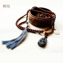 西藏夏洛克原创「静空」小叶紫檀佛珠F76