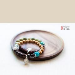西藏夏洛克原创「牵」紫檀、崖柏、菩提根混搭阴阳手链F50