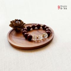 西藏夏洛克原创「淡泊」15mm发晶小叶紫檀佛珠F43