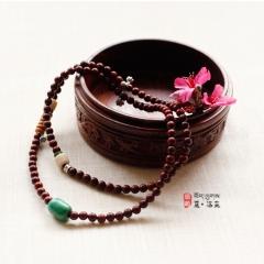 西藏夏洛克原创「自适」6X8小叶紫檀(高瓷)绿松F42
