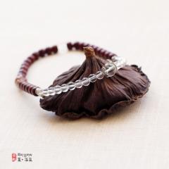 西藏夏洛克原创「如水」小叶紫檀水晶(砗磲)手链F40