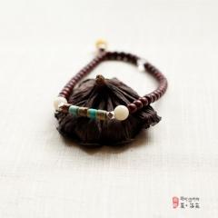 西藏夏洛克原创「风舟」小叶紫檀 寿山石手串 F39