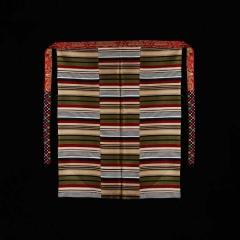 西藏红彩色条纹拼接藏式特色纯羊毛氆氇邦典复古民族风围裙配饰