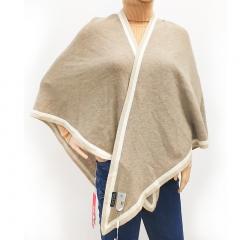 西藏特产措勤特色金紫绒羊绒女士针织三角披肩 紫绒 均码