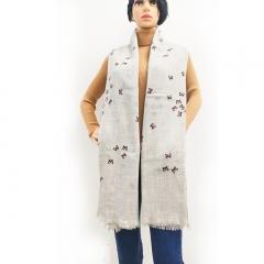 西藏特产措勤特色金紫绒羊绒时尚印花休闲羊绒围巾 淡灰色 135*215cm