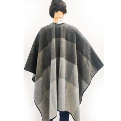 西藏特产措勤特色金紫绒羊绒女士羊毛格型叉包仿羊皮边披肩 灰色 160*125