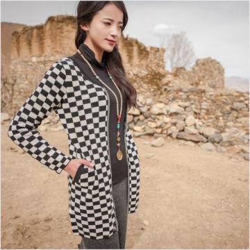西藏措勤县地方特色金紫绒 女士 羊绒衫开衫 灰色相间 S