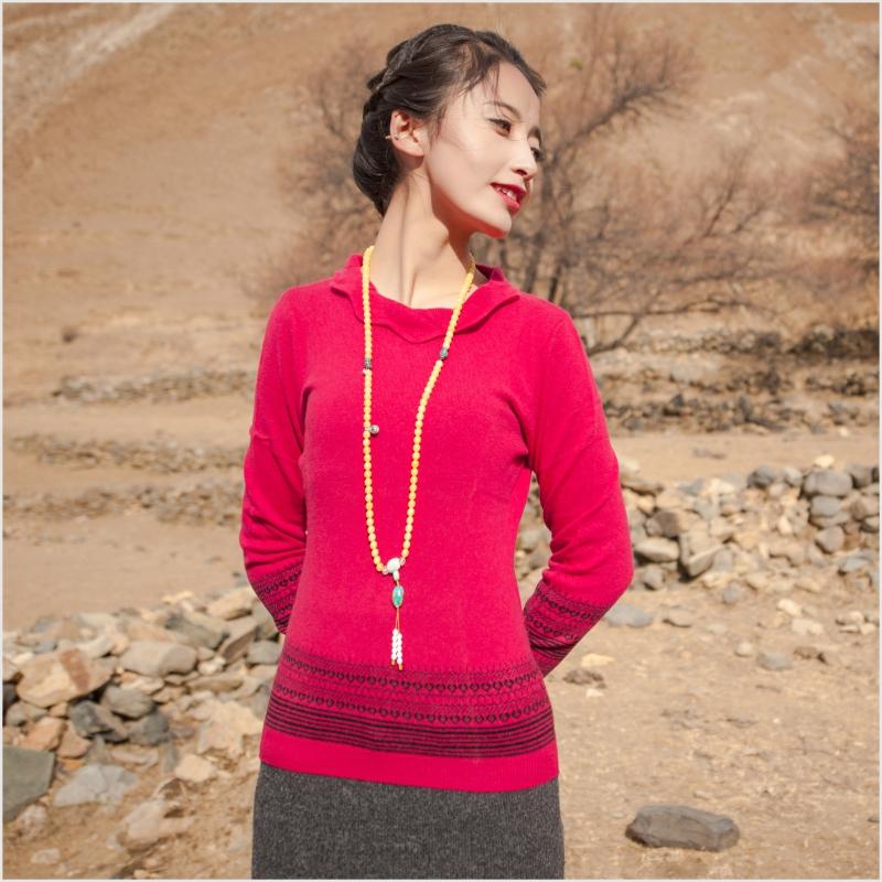 西藏措勤县地方特色金紫绒 女款上衣 圆领花状羊绒衫 红色 S