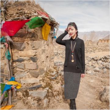 西藏措勤县地方特色金紫绒 女士 开衫马甲羊绒衫 黑色 S