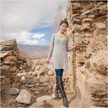 西藏措勤县地方特色金紫绒 女款 圆领小花裙羊绒衫 灰色 S