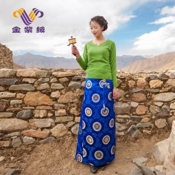 西藏措勤地方特色金紫绒 女款上衣 小开口圆领羊绒衫 草绿色 S