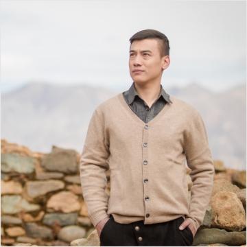 西藏措勤县地方特色 金紫绒 男款上衣 V领开衫羊绒衫 本色 M
