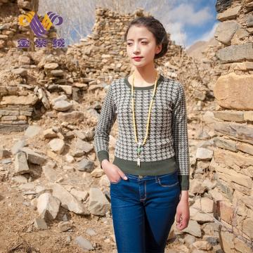 西藏措勤县地方特色金紫绒 女款 上衣圆领拼色潮流羊绒衫 灰茶绿夹花 S