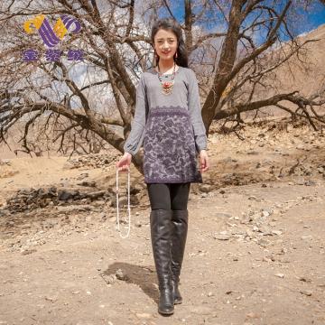 西藏措勤地方特色金紫绒 女款上衣 圆领裙子羊绒衫 烟灰色 S