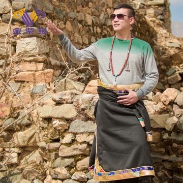 西藏措勤县地方特色金紫绒 男士上衣 圆领羊绒衫 绿灰色 M