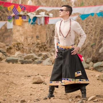西藏措勤县地方特色金紫绒 男士上衣 圆领肤色潮流羊绒衫 肤色 S 紫绒本色 本色 M