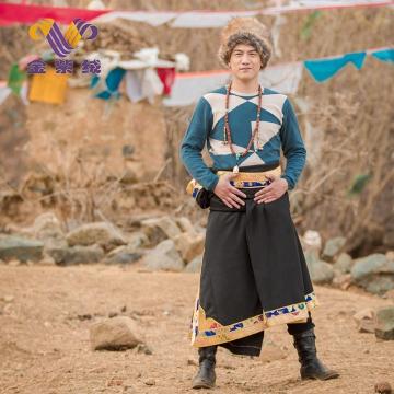 西藏措勤地方特色金紫绒 男款上衣 拼色圆领潮流羊绒衫 暗湖绿 M