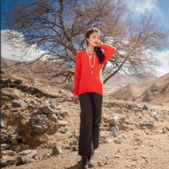 西藏措勤县地方特色金紫绒 女款上衣 V领羊绒衫 橘黄 S