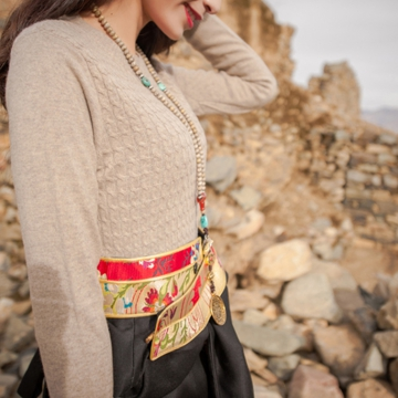 西藏措勤县地方特色金紫绒 女款上衣 圆领羊绒衫 本色 S