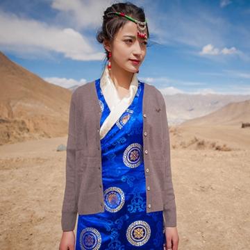 西藏措勤县地方特色金紫绒 女款上衣 开衫小外套羊绒衫 灰色 S