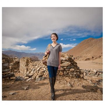 西藏措勤地方特色金紫绒 女士 精致大V领羊绒衫 灰色 M