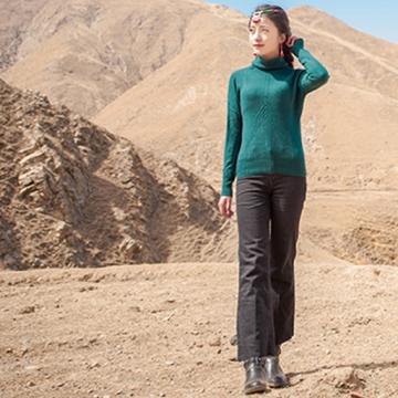 西藏措勤县地方特色金紫绒 女款上衣 微高领羊绒衫 灰色 S