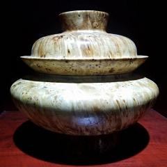 西藏天然原木制作糌波表纹细腻木碗糌波 一碗 图色